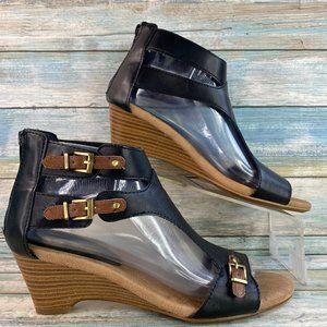 Aerosoles Mayflower Black Wedge Open Toe Sandals
